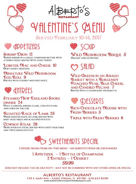 valentines day restaurant menu celebrate s day with a dinner for 2 at
