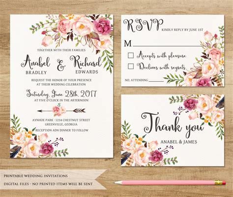 wedding printable invitations floral wedding invitation printable wedding invitation