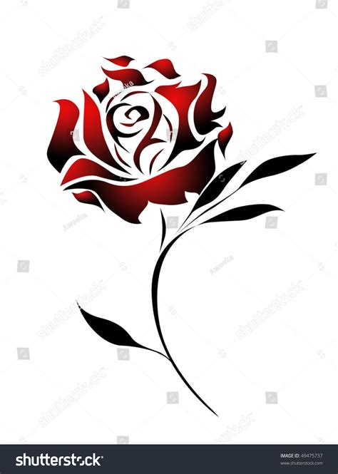 red rose tattoo design with path stock photo 49475737