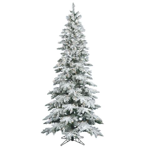 10 foot slim christmas tree 10 foot slim flocked utica fir tree warm white led lights a895086led