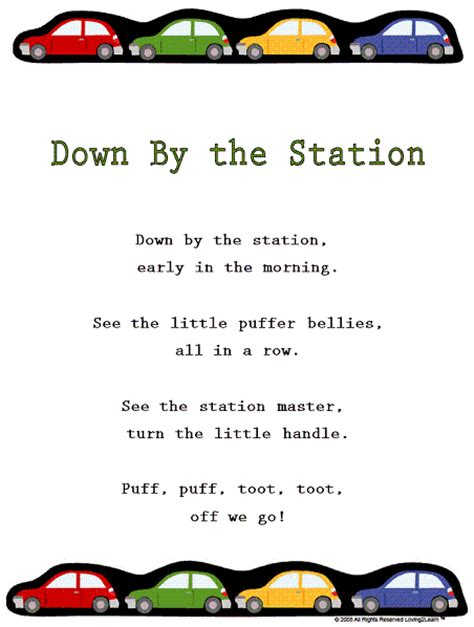 Nursery Books Online by Transportation Rhymes Amp Songs Quot Down By The Station Quot With
