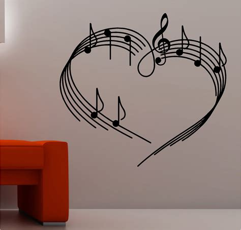 Wall Stickers For Childrens Bedrooms music notes as a heart wall art sticker vinyl music