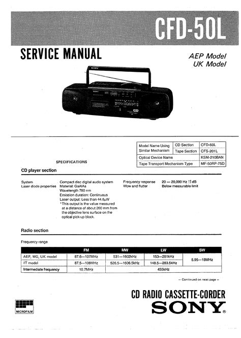 Sony Cfd50l Service Manual Immediate Download