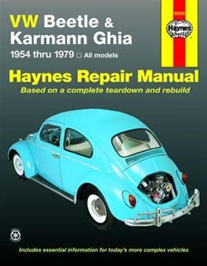 Haynes Repair Manual For Volkswagen Beetle Amp Karmann Ghia