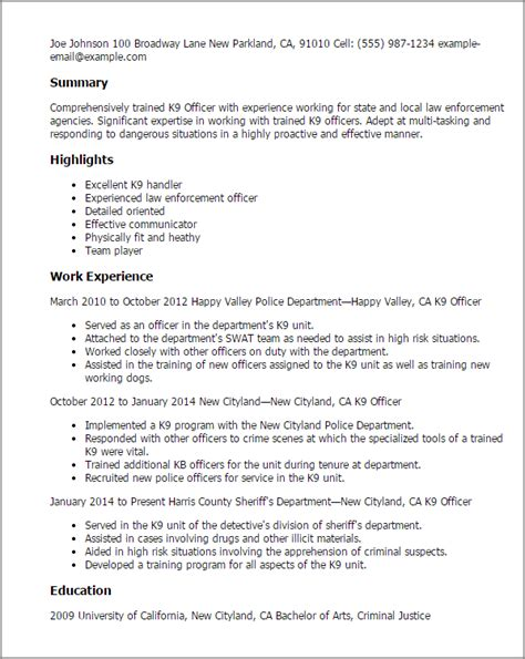 Canine Security Officer Sle Resume enforcement resume summary 28 images professional code enforcement officer templates to