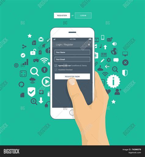 login mobile phone login register screen on mobile phone holding