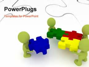 powerpoint template team of three human character solving