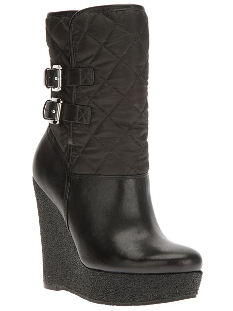michael michael kors quilted wedge boot in black lyst