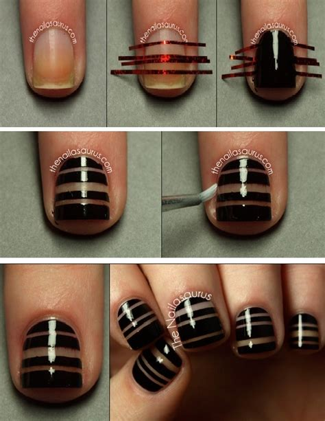 Tutorial Nail Art Striping | diy tape nail art beauty zone