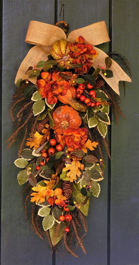 bountiful harvest hydrangea pumpkin and berry fall swag