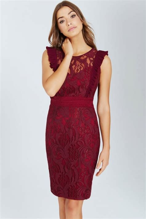 Promo New Dress Lace Maroon Maroon Lace Bodycon Dress With Ruffle