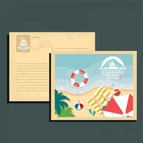 summer postcard template beach icons decoration free