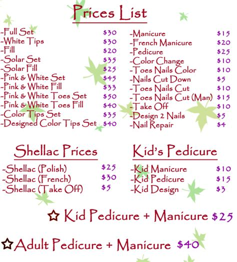 Nail Salon Prices price list for nails salon price list