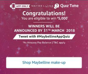 amazon quiz winner answers amazon maybelline quiz time answer win rs 5000