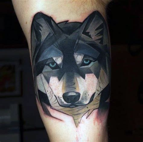 tattoo geometric face geometric wolf face tattoo