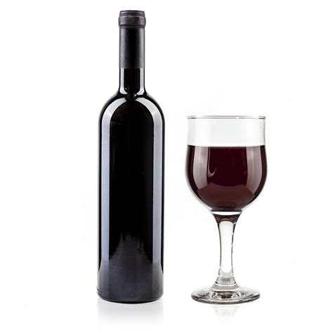 red wine bottle and glass on white background photograph