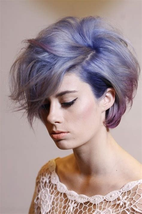 short messy hairstyle  purplelilac  lavender pastels