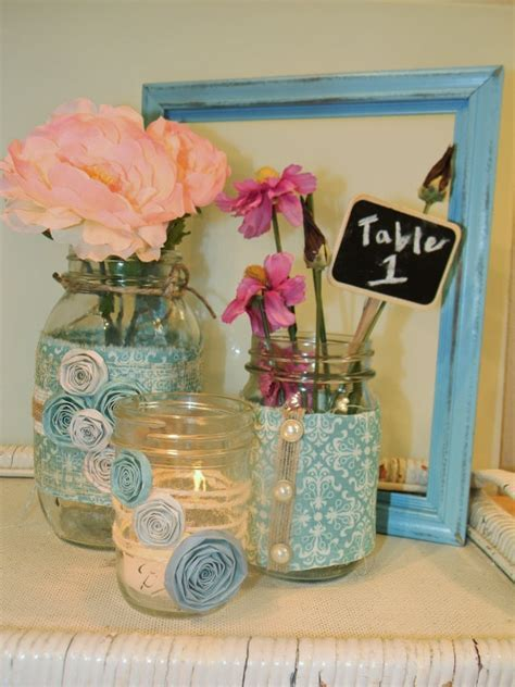 Upcycled Mason Jars/ Wedding Centerpiece   Wedding