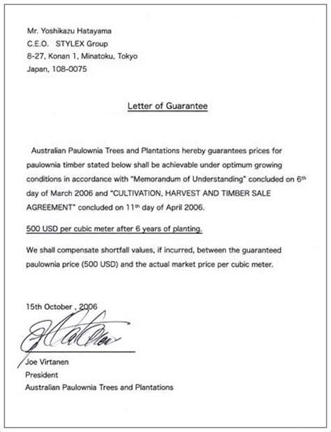Letter Of Guarantee Jvwithmenow Com