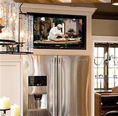 tv above refrigerator kitchen ideas pinterest built in tv over refrigerator so much better than useless