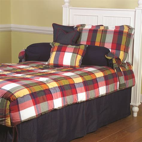 fitted bunk bed comforter quot mattox red quot classic plaid bunk bed hugger fitted comforter