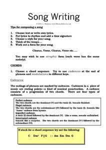 song writing 9th grade worksheet lesson planet