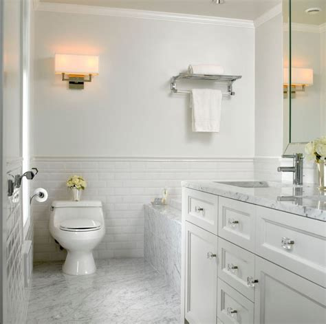 how high should wainscoting be in a bathroom beveled tile beveled subway tile westside tile and stone