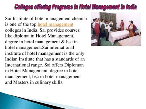 Mba Hotel Management Colleges In Chennai by Hotel Management Courses In Chennai