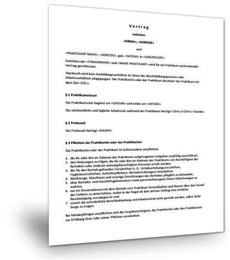 Praktikum Vorlage Vertrag Muster Vertrag Praktikum Vertraege De