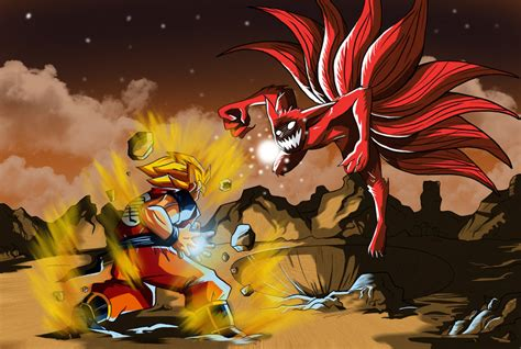 naruto film z goku vs naruto nine tails by master angel on deviantart