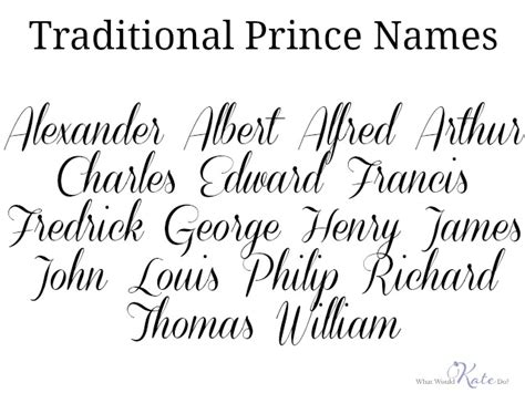 classic names prince names list images search