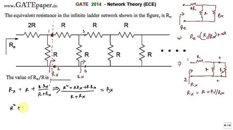 resistor network circuits gate 2014 ece equivalent resistance in the infinite ladder network shown is re find re r