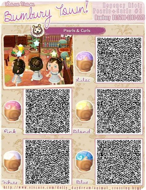 acnl cute hairstyles animal crossing qr codes hair pearls and curls 2