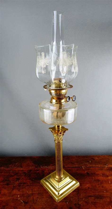 antique brass table l with glass shade antique victorian corinthian brass oil l table kerosene