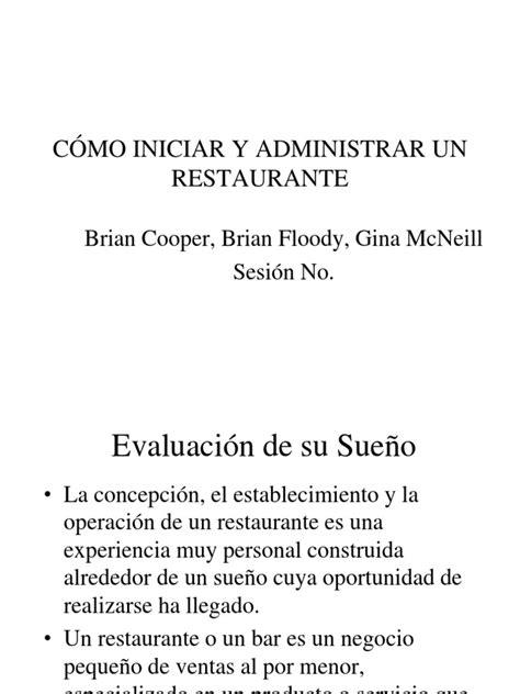 Como Iniciar y Administrar Un Restaurante | Marketing | Bar