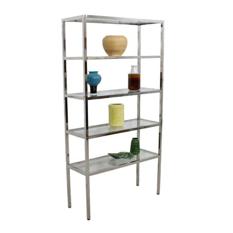 etagere 9 cases leclerc pair chrome glass etagere display shelving book