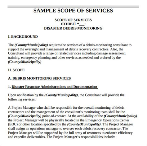 Scope Of Services Template scope of work 22 dowload free documents in pdf word excel