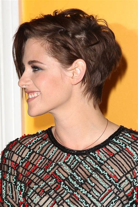 hair cutting that suits on long hair and long forehead kristen stewart short hairstyle hairspiration
