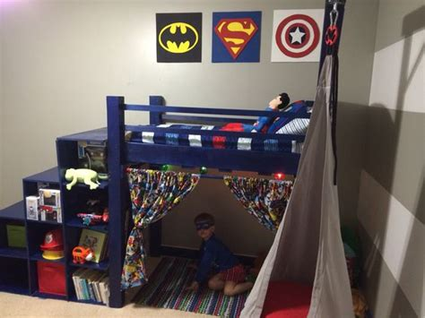 superhero toddler bed diy superhero toddler loft bed cubby stairs i built