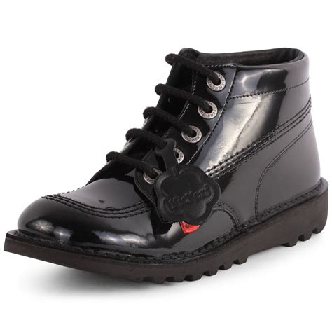 kickers kick hi youth womens leather black patent ankle