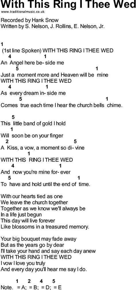 with a bluegrass songs with chords with this ring i thee wed