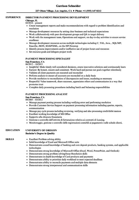 Payment Processor Sle Resume by Payment Processing Resume Sles Velvet