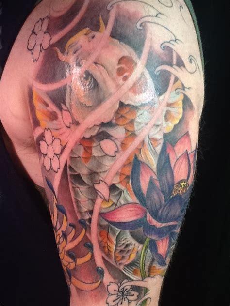 eternal tattoo springfield mo koi fish sleeve flower lotus nate rogers by zeek911