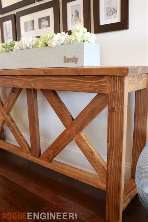 free console diy x brace console table free plans rogue engineer