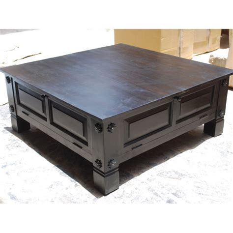 Black Square Coffee Table With Storage Black Square Solid Wood Storage Cocktail Coffee Table Ebay