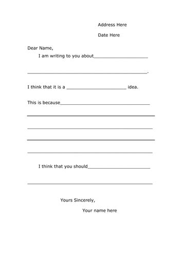 persuasive letter template ks2 a letter template for persuasive writing by lia teaching