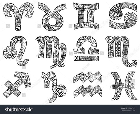 sign and doodle zodiac zentangle signs zodiac symbols zentangle stock