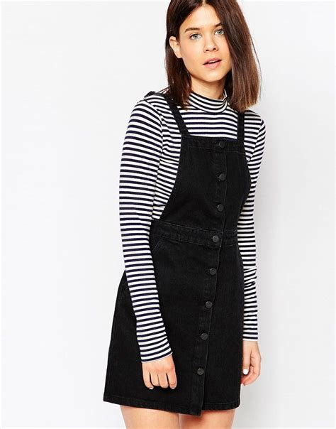 Transition Wear Cutest Pinafore Dress by Image 1 Of Asos Denim Aline Button Through Pinafore Dress