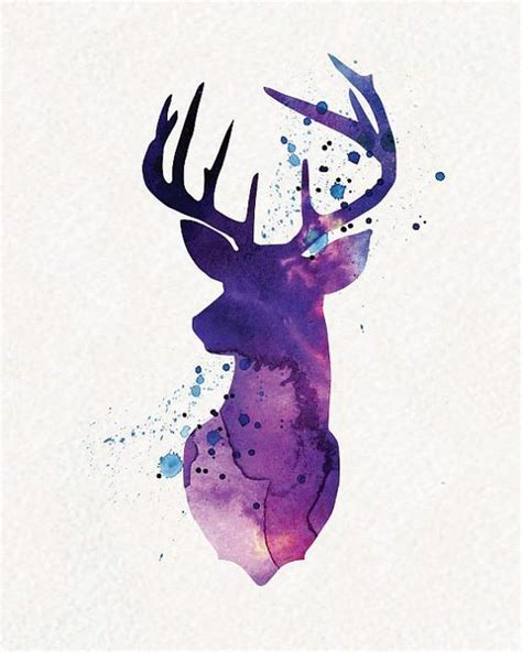 purple watercolor deer head with blue spots tattoo design