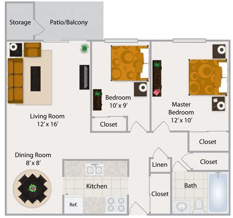 2 bedroom apartment floor plan house plans cottage style